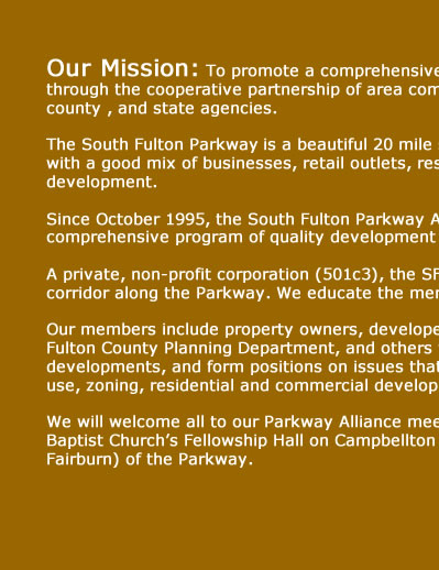 South Fulton Parkway Alliance - promoting quality development for the South Fulton Parkway located near Atlanta Georgia's Hartsfield Jackson International airport